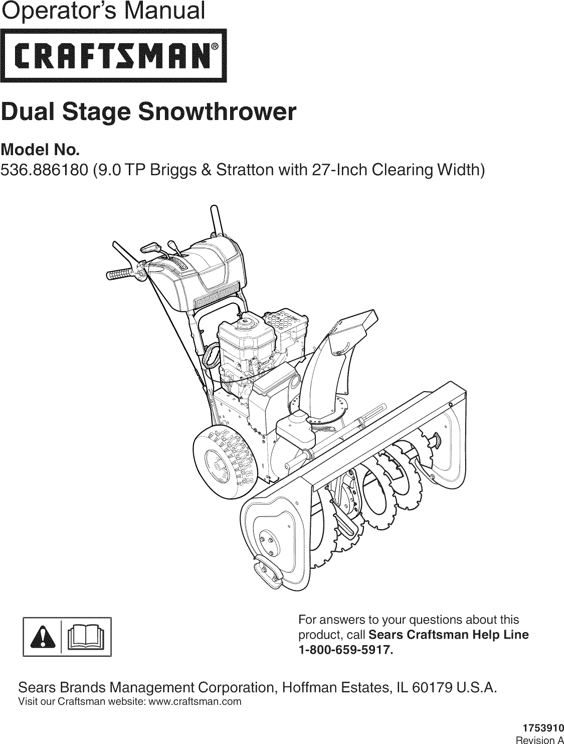 Craftsman 536886180 User Manual 1990s 8HP GAS SNOWTHROWER