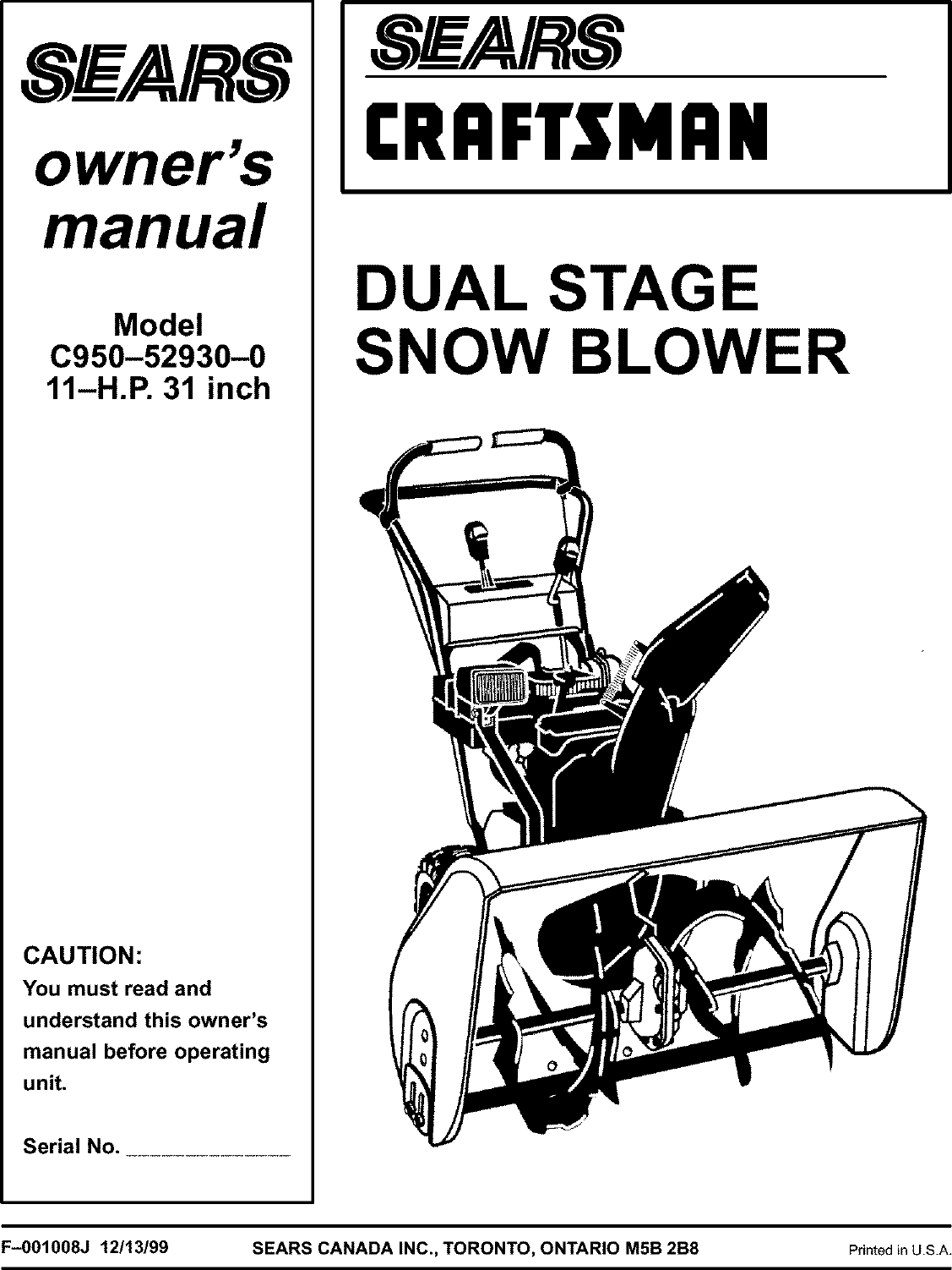 Craftsman 536886520 User Manual SNOW BLOWER Manuals And