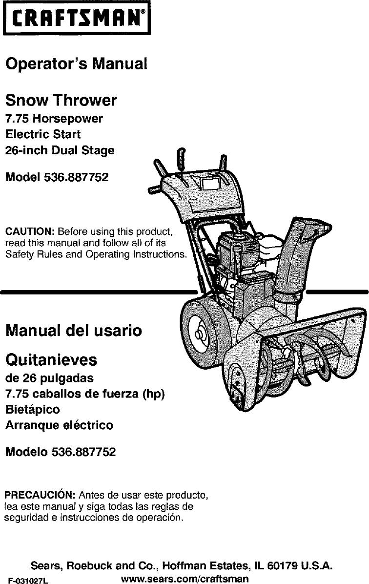 Craftsman 536887752 User Manual SNOWTHROWER, GAS Manuals