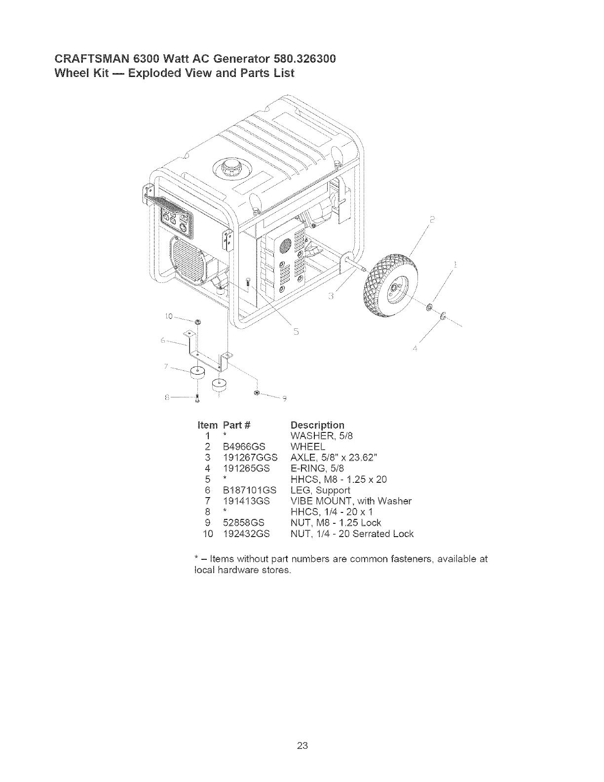Craftsman 580326300 User Manual GENERATOR Manuals And