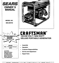 craftsman 580326720 user manual deluxe portable generator manuals and guides 98070398 [ 1207 x 1609 Pixel ]