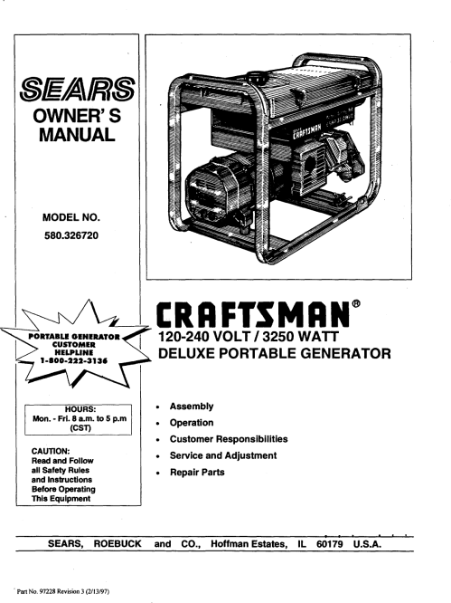 small resolution of craftsman 580326720 user manual deluxe portable generator manuals and guides 98070398