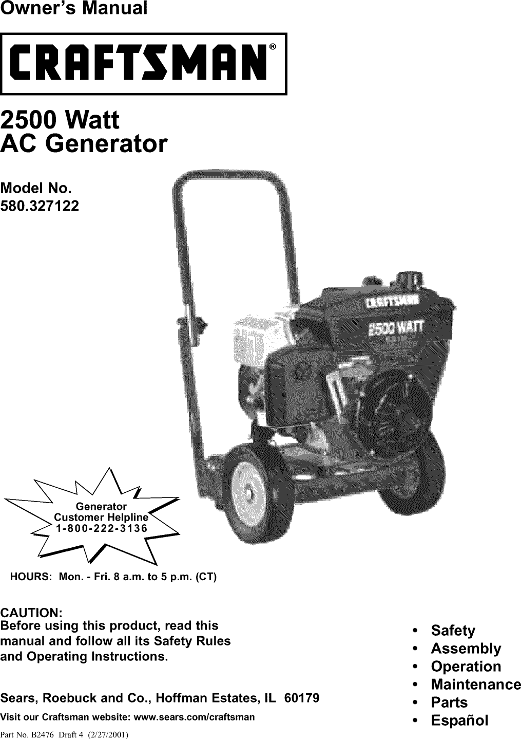 Craftsman 580327120 User Manual 2500W GENERATOR ON A 2