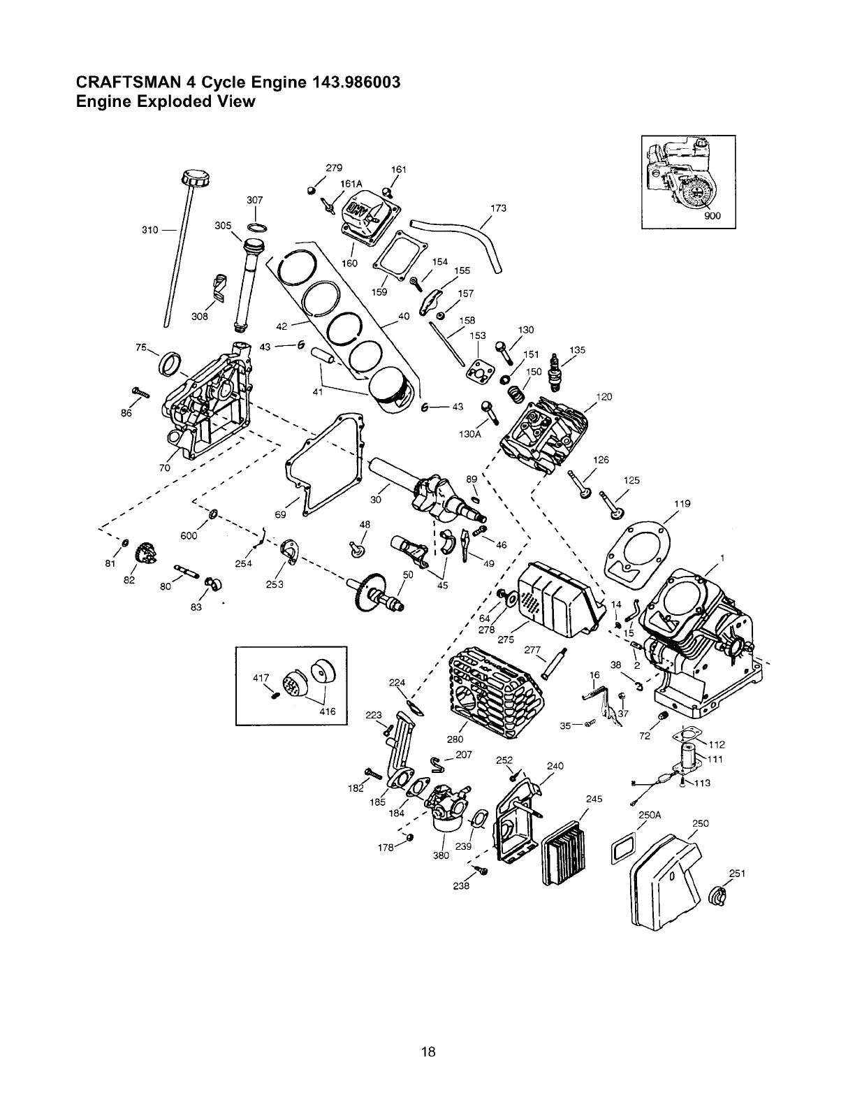 Craftsman 4 cycle engine 143 986003