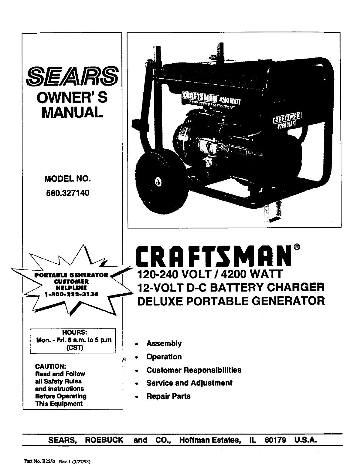 Craftsman 580327140 User Manual GENERATOR Manuals And