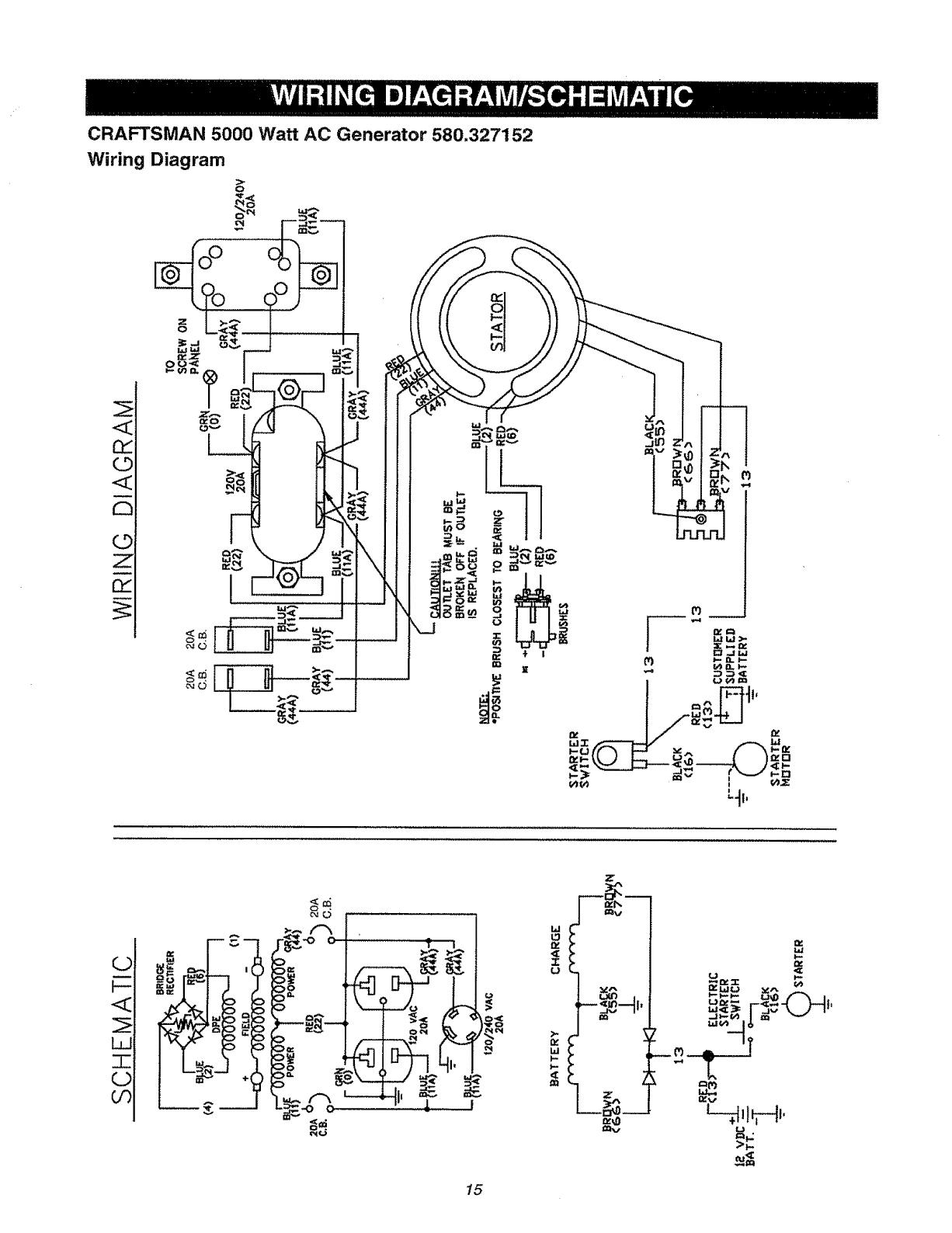 Craftsman 580327150 User Manual 2400 WATT PORTABLE AC