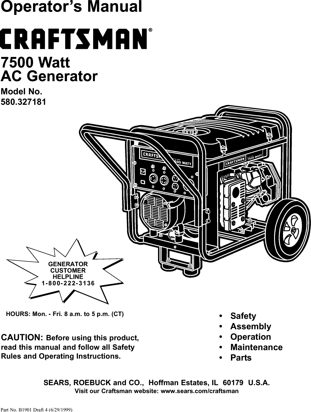 Craftsman 580327181 User Manual 7500 WATT AC GENERATOR