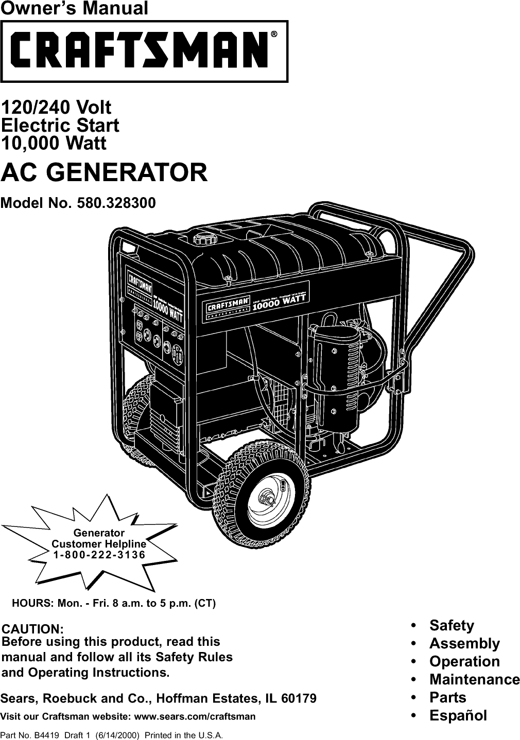 Craftsman 580328300 User Manual AC GENERATOR Manuals And