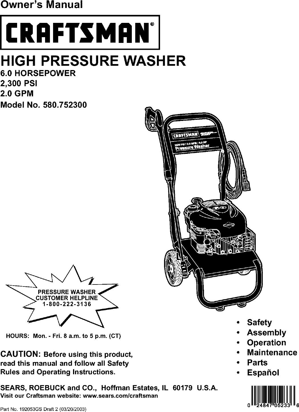 Craftsman 580752300 User Manual PRESSURE WASHER Manuals