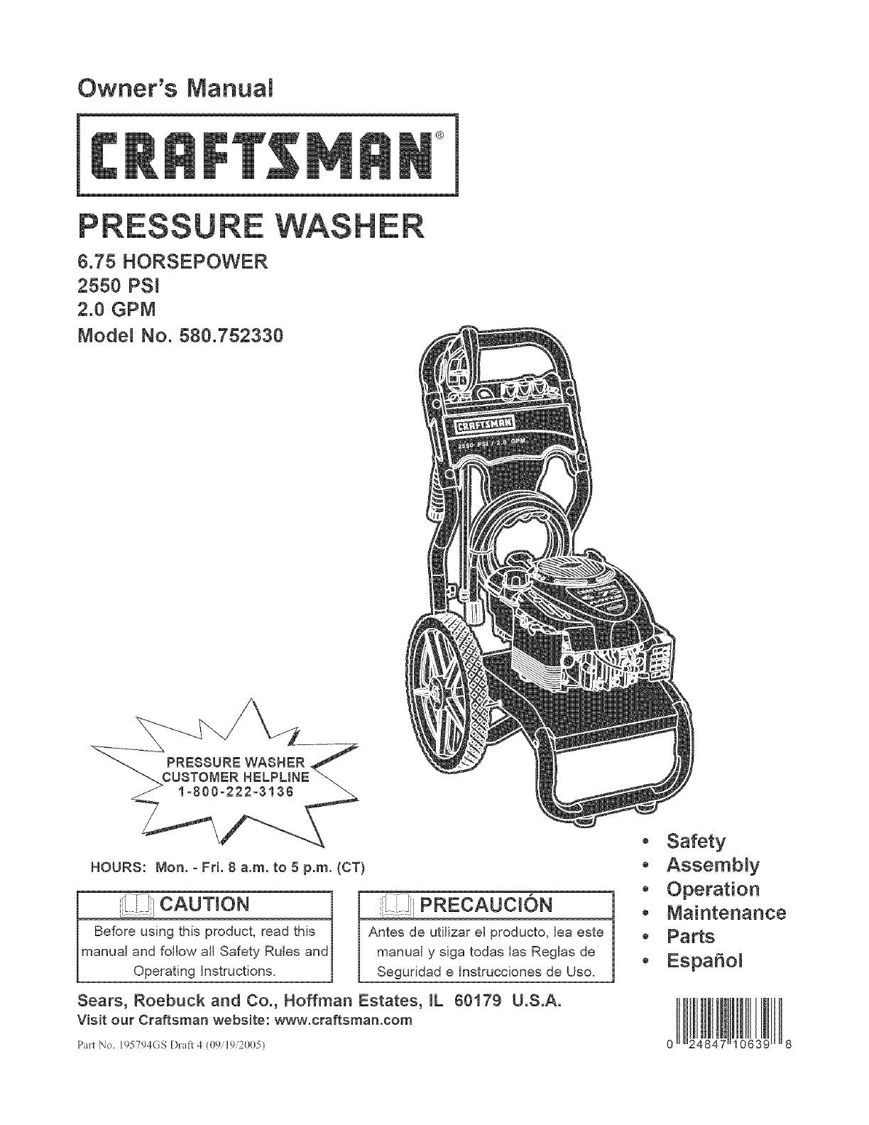 Craftsman 580752330 User Manual PRESSURE WASHER Manuals