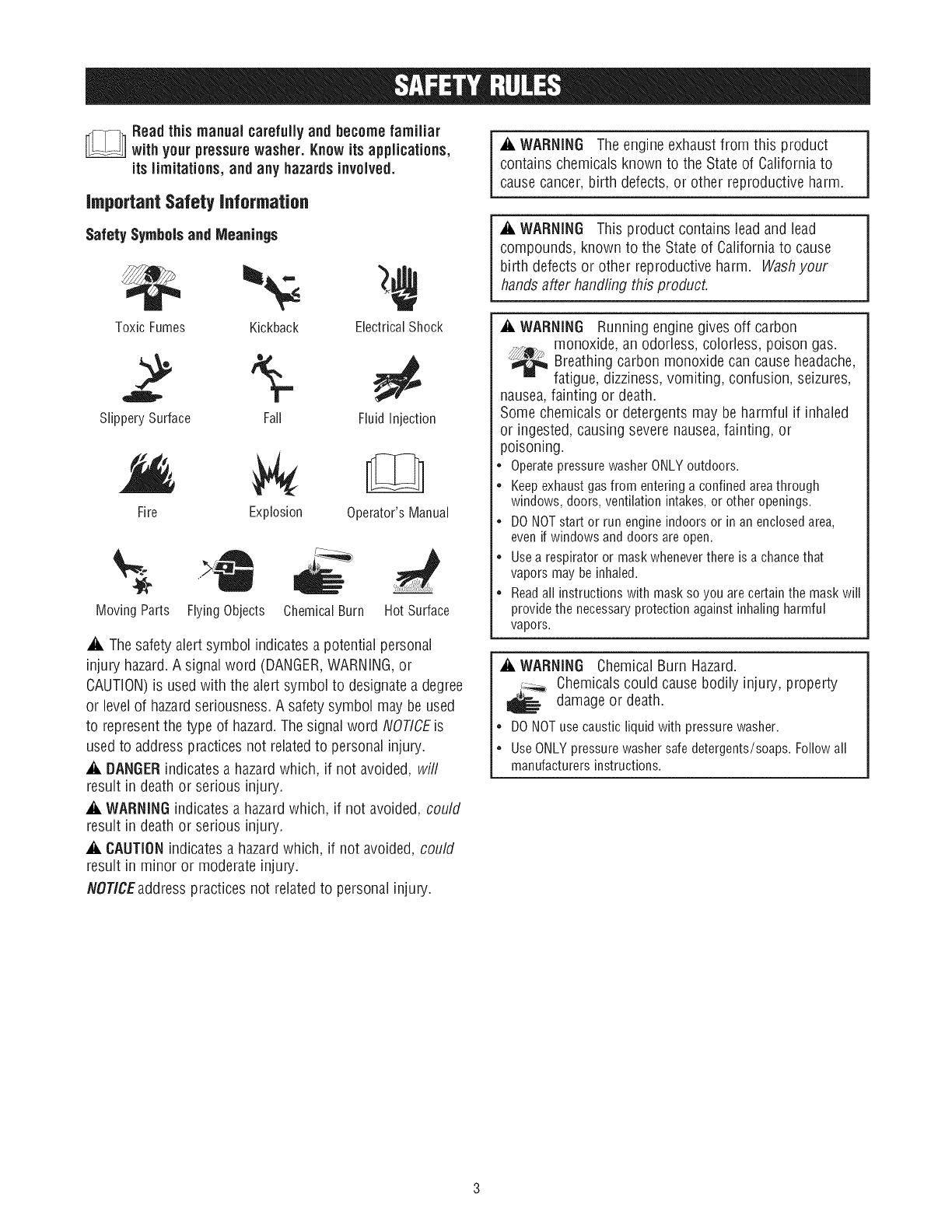 Craftsman 580752500 User Manual PRESSURE WASHER Manuals