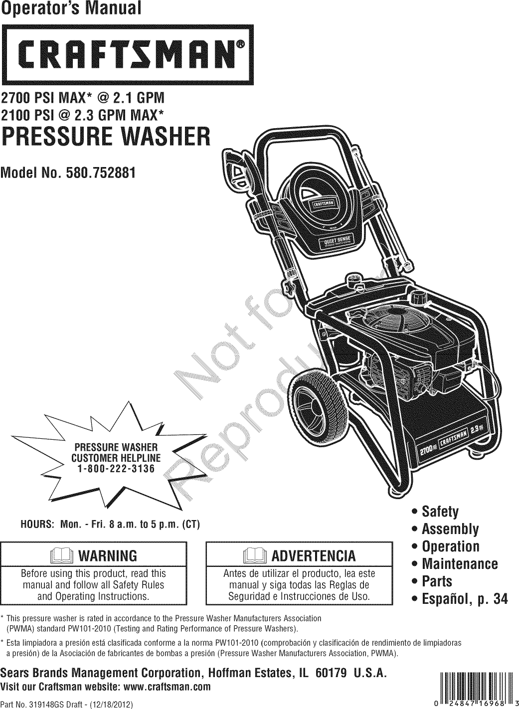 Craftsman 580752881 1606615L User Manual PRESSURE WASHER