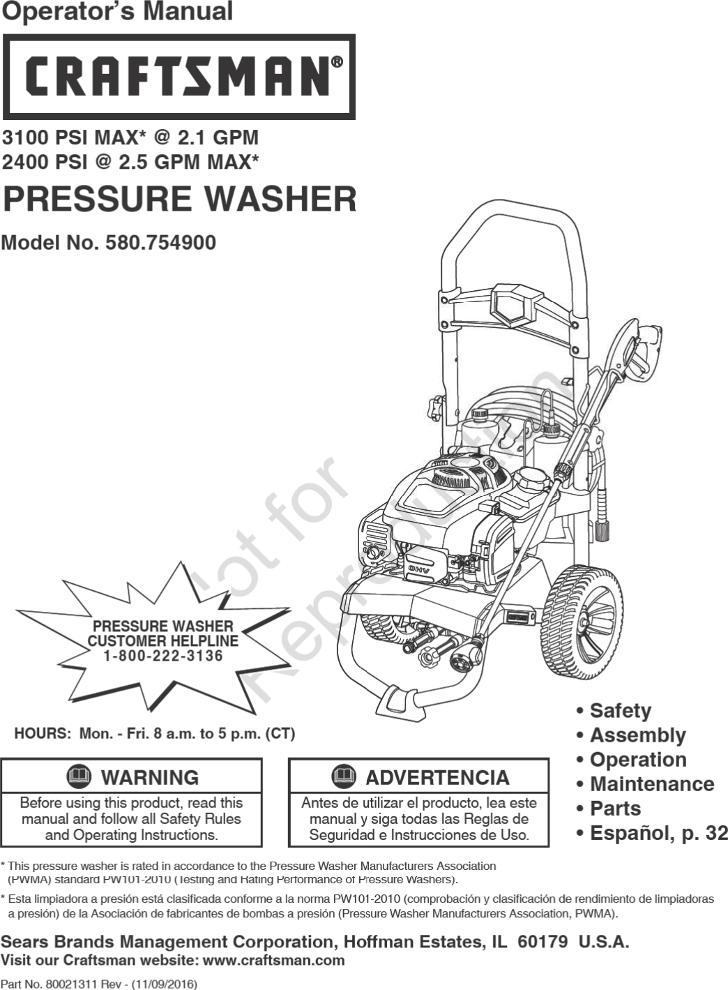 Craftsman 580754900 80021311 User Manual POWER WASHER