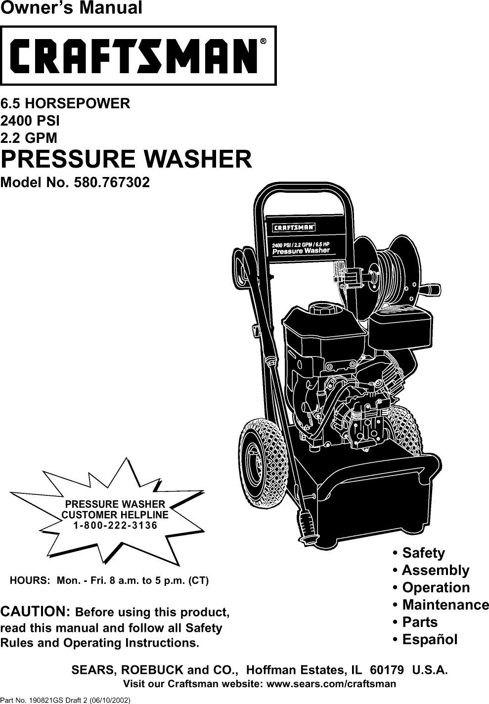 Craftsman 580767302 User Manual PRESSURE WASHER Manuals