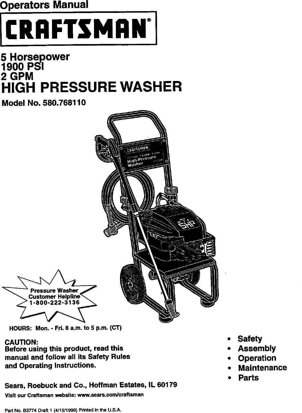 Craftsman 580768110 User Manual HIGH PRESSURE WASHER