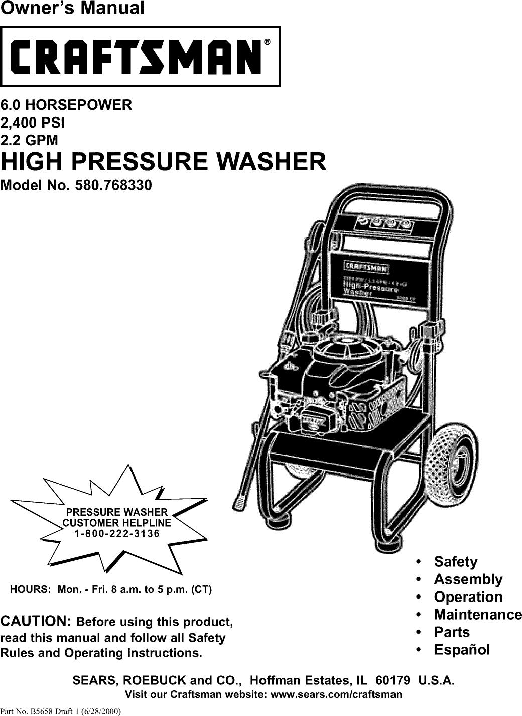 Craftsman 580768330 User Manual PRESSURE WASHER Manuals