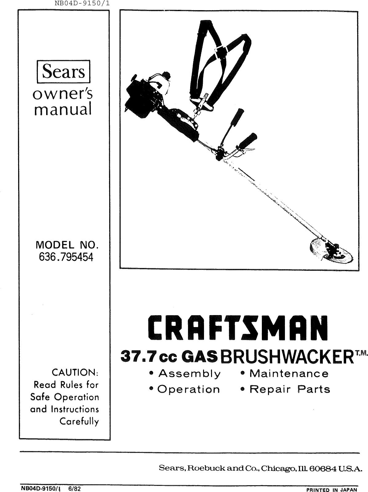 Craftsman 636795454 User Manual GAS BRUSHWACKER Manuals