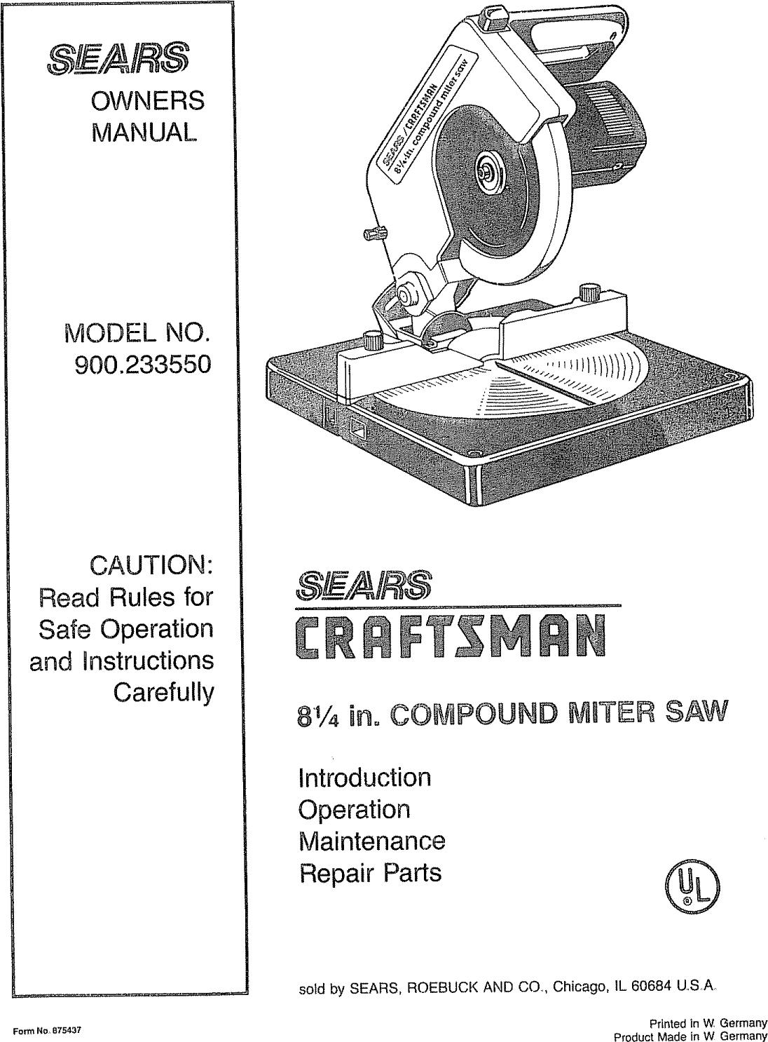 Sears Craftsman Miter Saw Manual