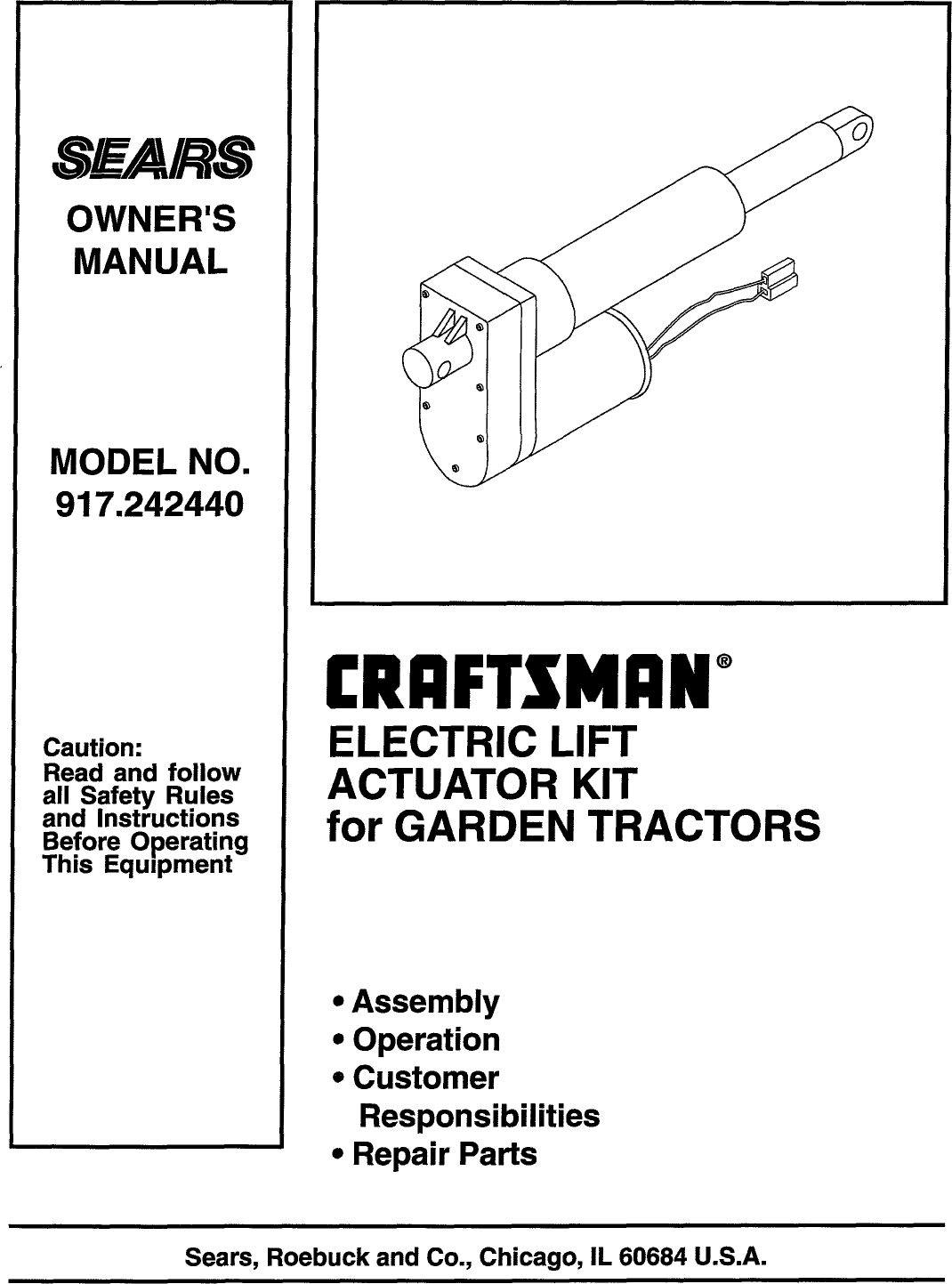 Craftsman 917242440 User Manual KIT ELECTRIC LIFT Manuals