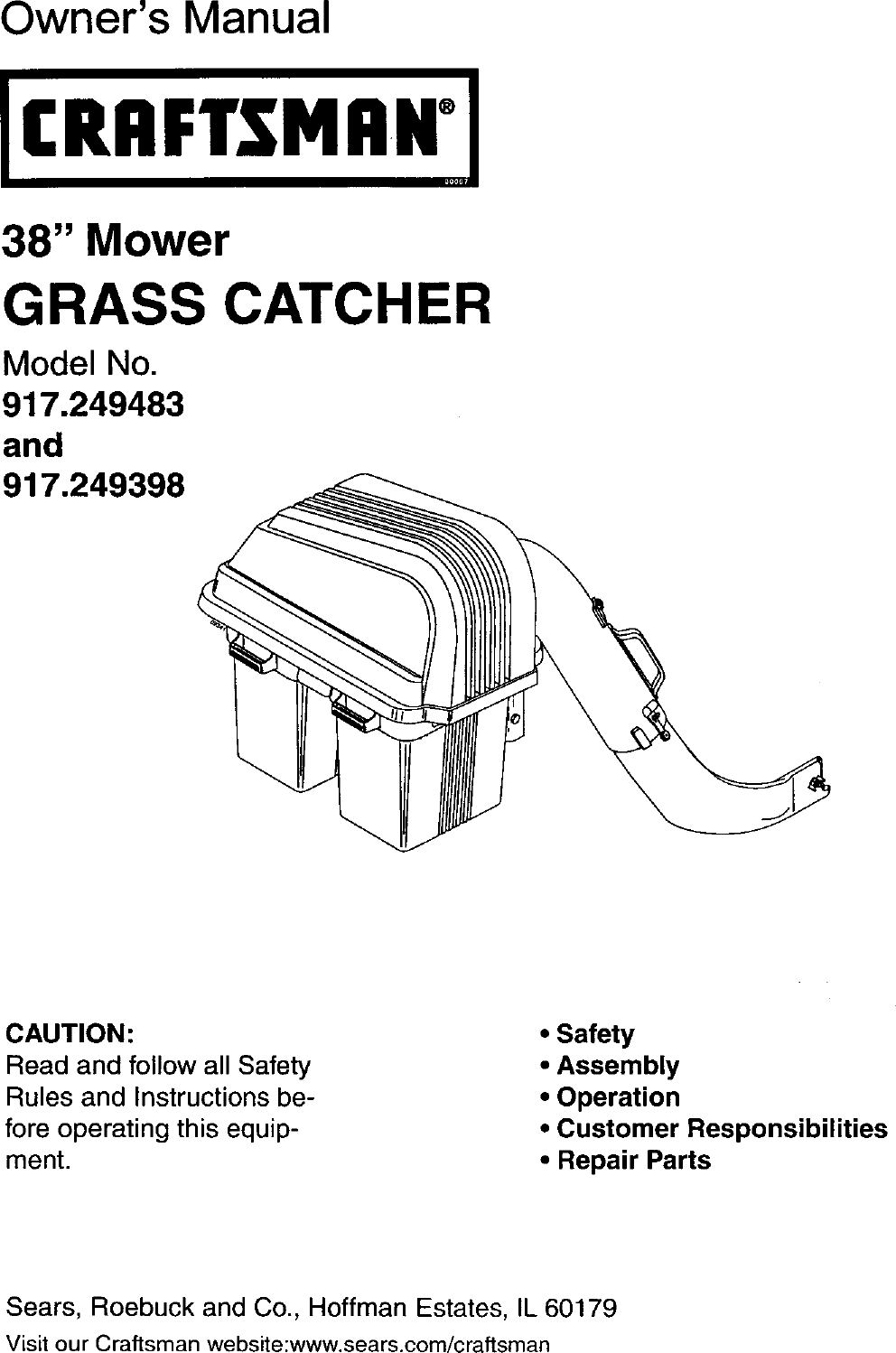 Craftsman 917249398 User Manual GRASS CATCHER Manuals And