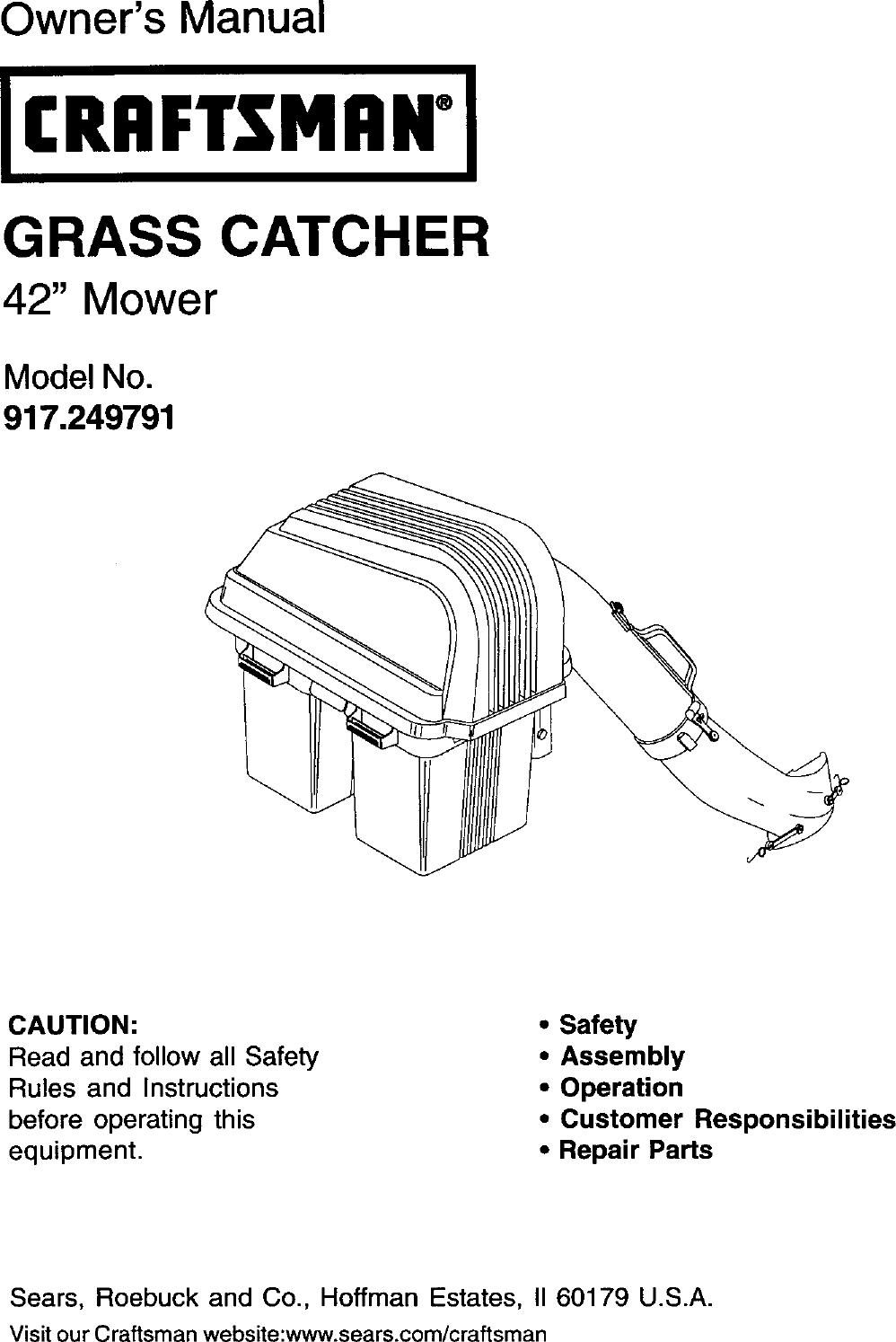 Craftsman 917249791 User Manual GRASS CATCHER Manuals And