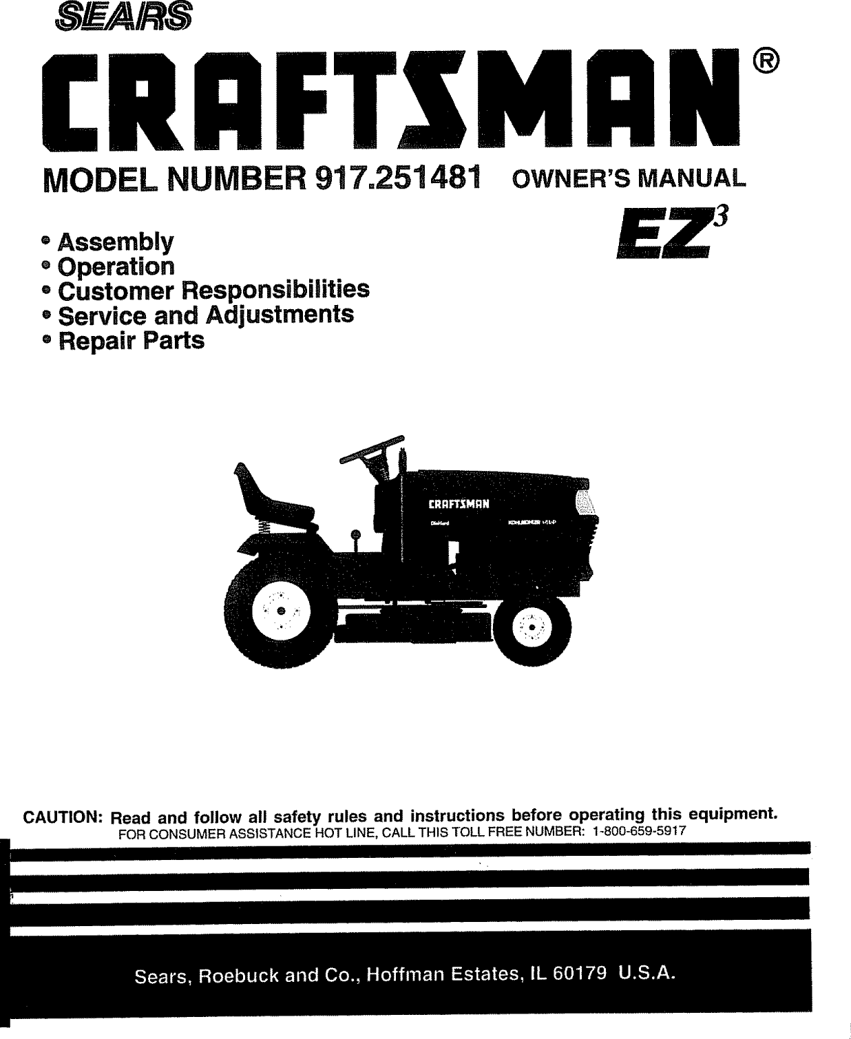Craftsman 917251481 User Manual TRACTOR Manuals And Guides
