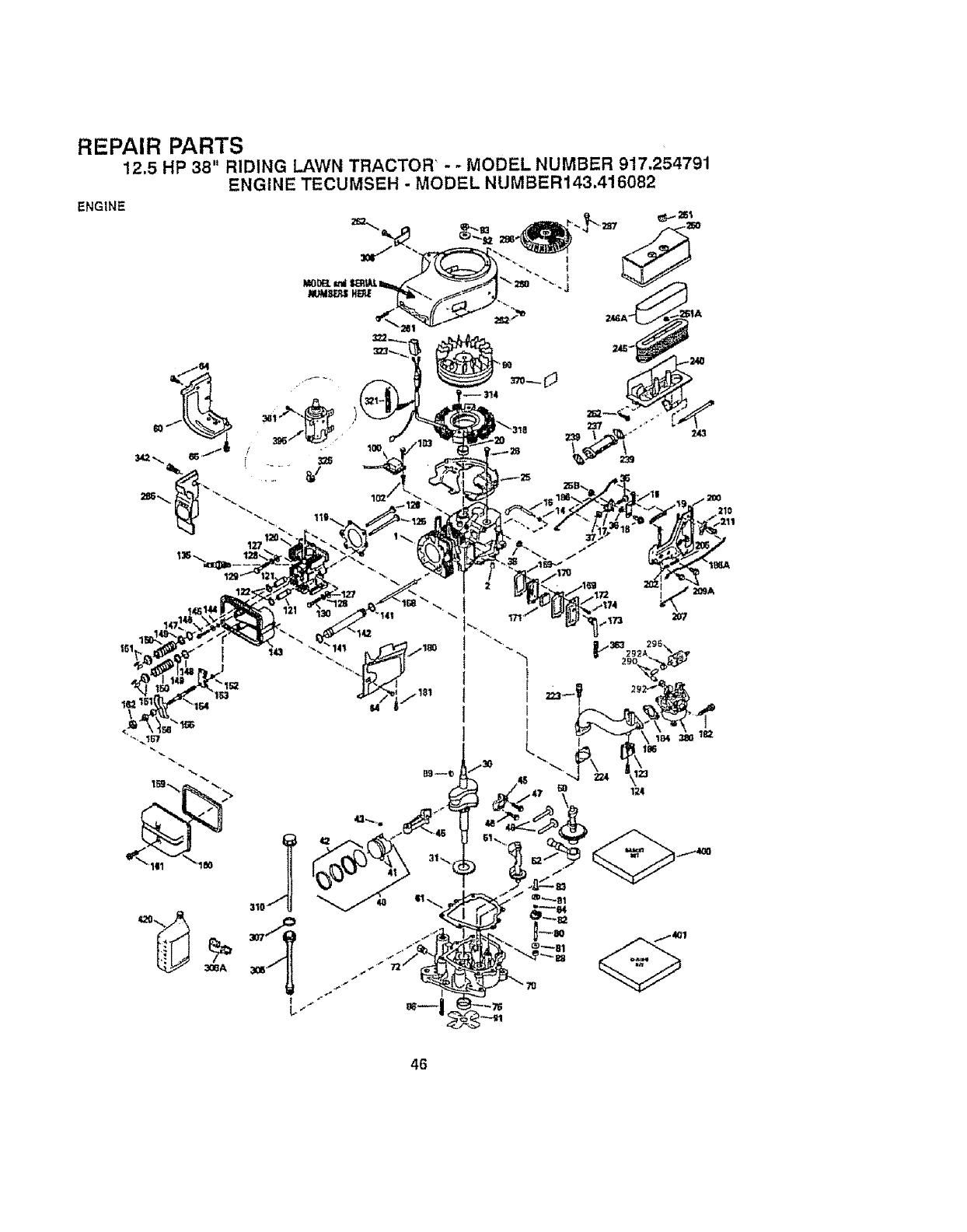 Craftsman 917254791 User Manual 12.5 HP 38 RIDING LAWN
