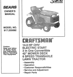craftsman 917255692 user manual lawn tractor manuals and guides l0805065 [ 1244 x 1584 Pixel ]