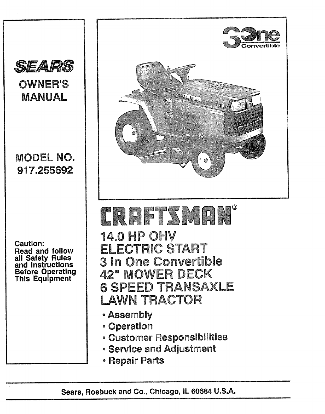 hight resolution of craftsman 917255692 user manual lawn tractor manuals and guides l0805065