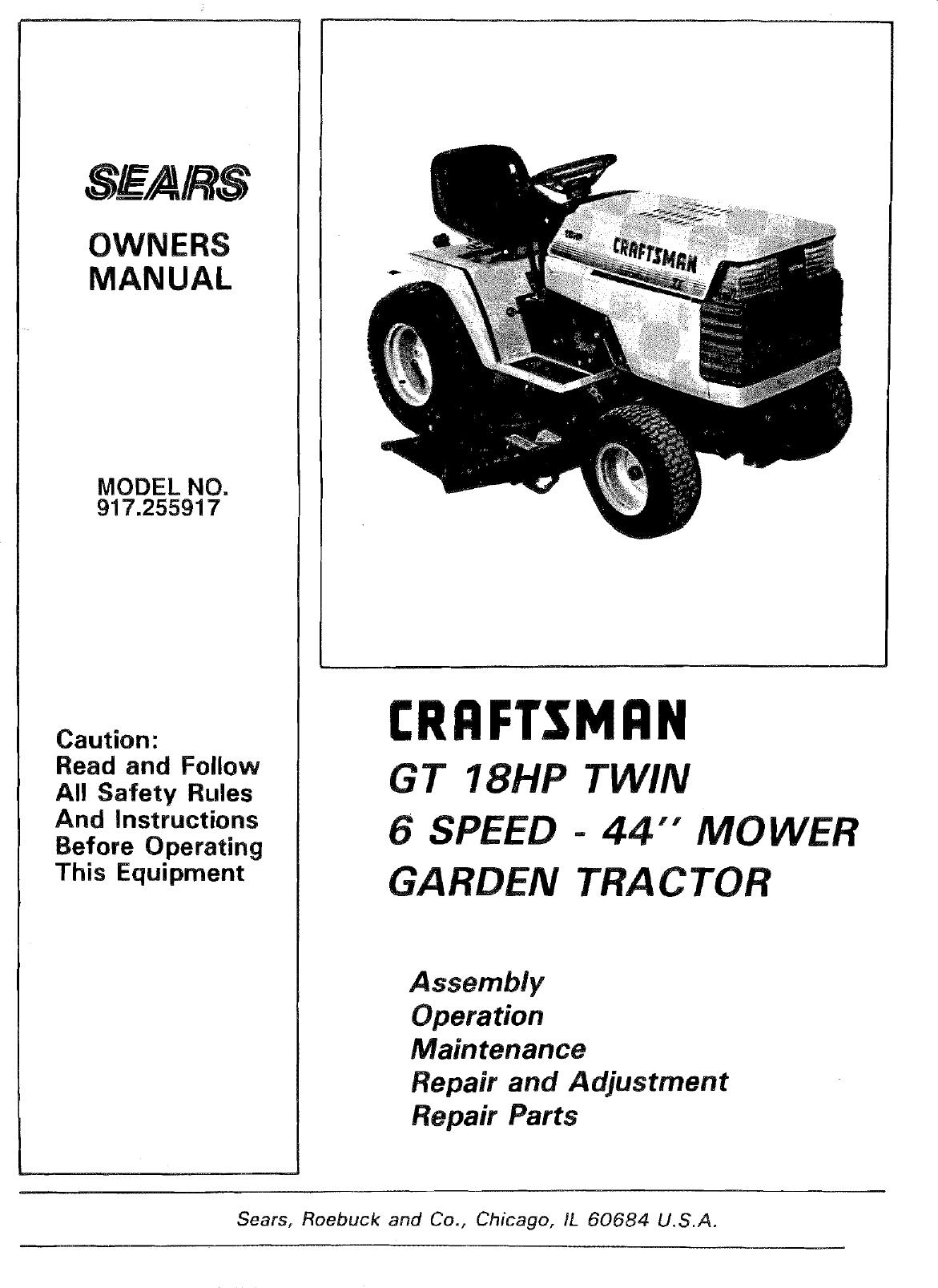 Craftsman 917255917 User Manual GT 18 TWIN GARDEN TRACTOR