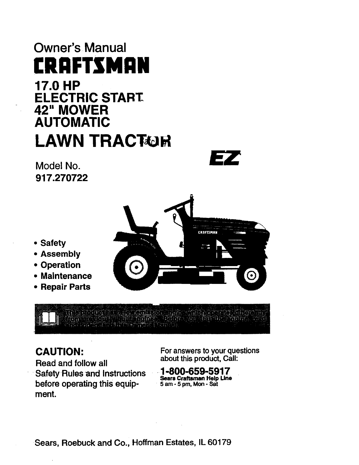 Craftsman Riding Mower Steering Problems : craftsman, riding, mower, steering, problems, Craftsman, 917270722, Manual, TRACTOR, Manuals, Guides, 98100084
