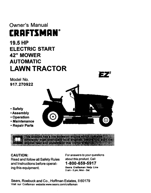 small resolution of wiring diagram for a craftsman riding mower 19 5 hp 42 inch cut craftsman 917270922 user
