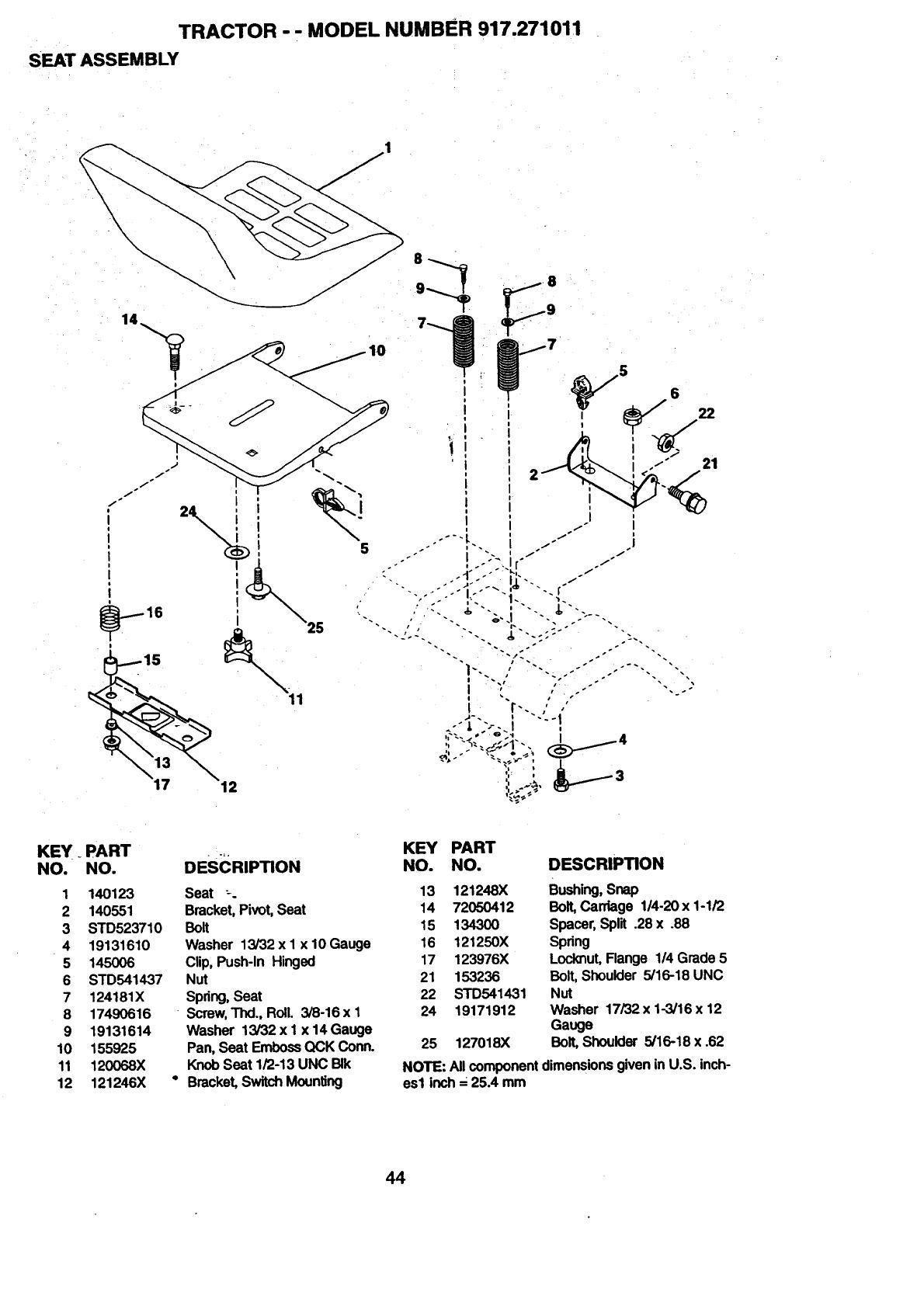 Craftsman 917271011 User Manual 15.5 HP ELECTRIC START 6
