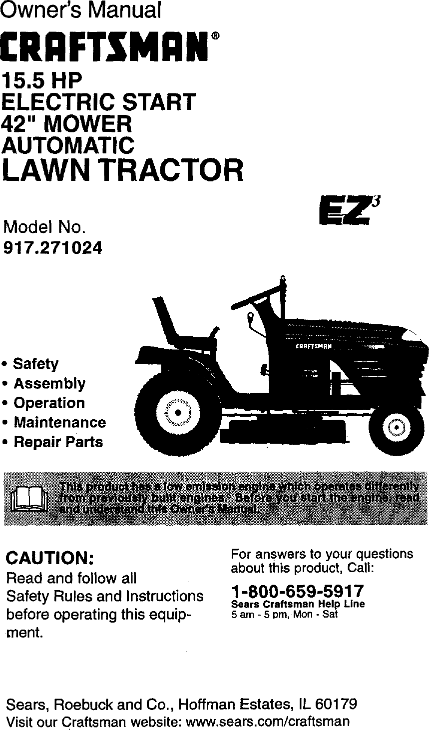 Craftsman 917271024 User Manual LAWN TRACTOR Manuals And