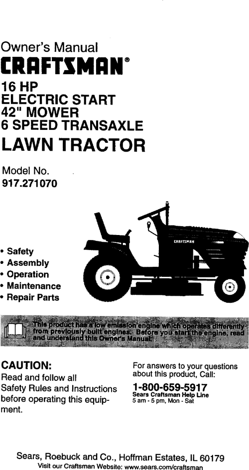 small resolution of craftsman 917271070 user manual lawn tractor manuals and guides 99030708 electrical wiring schematics schematic wiring diagram for 917271070