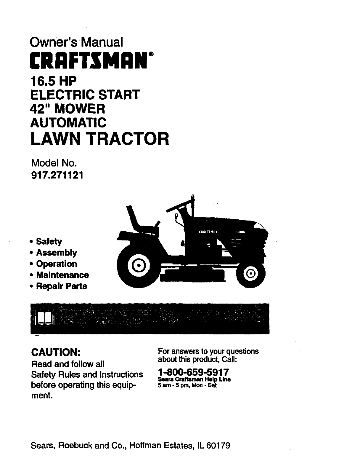 Craftsman 917271121 User Manual 16.5 HP ELECTRIC START