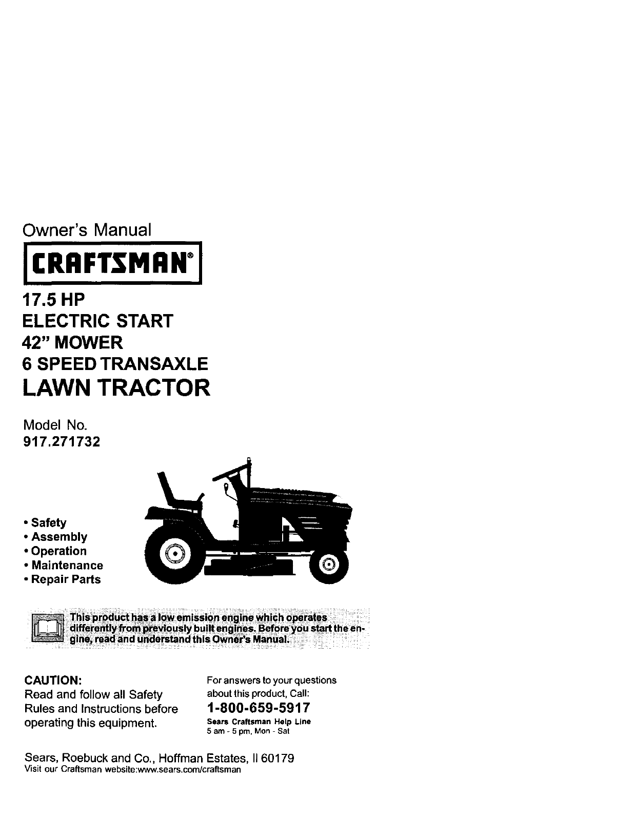 hight resolution of craftsman 917271732 user manual lawn tractor manuals and guides l0102267