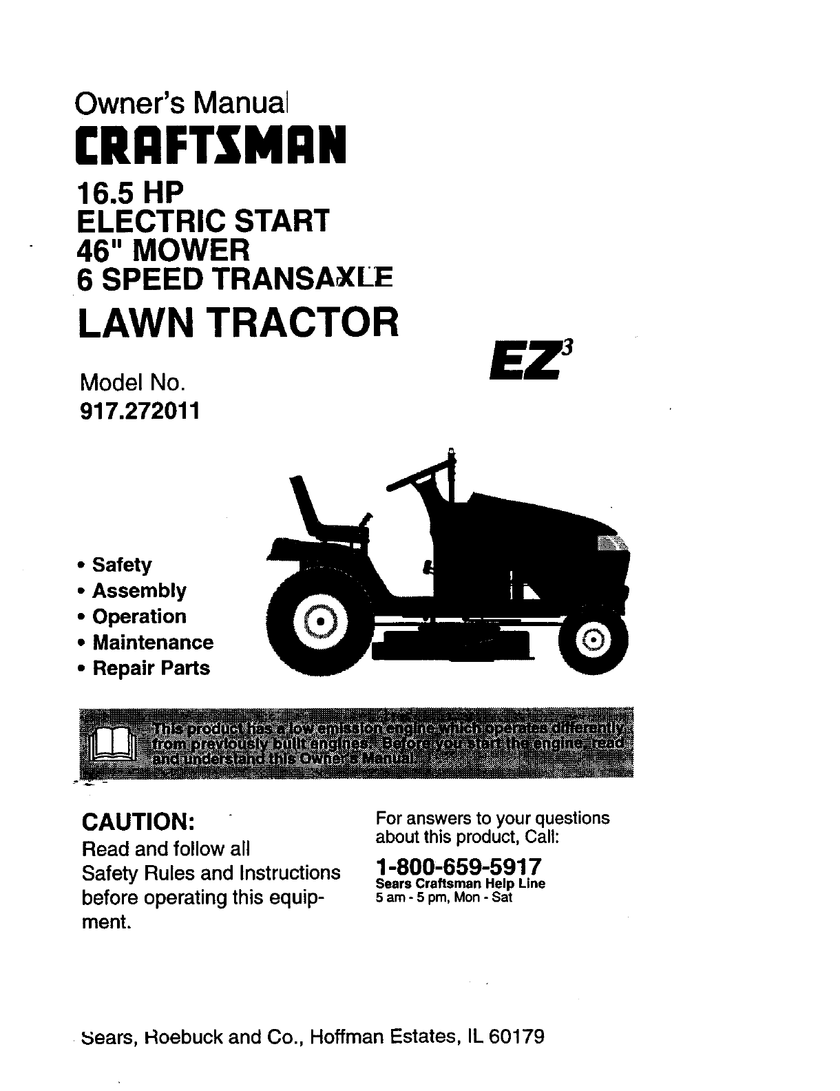 Craftsman 917272011 User Manual LAWN TRACTOR Manuals And