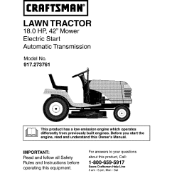 craftsman 917273761 user manual lawn tractor manuals and guides l0403297 wiring diagram craftsman garden tractor 917 273761 [ 1210 x 1572 Pixel ]