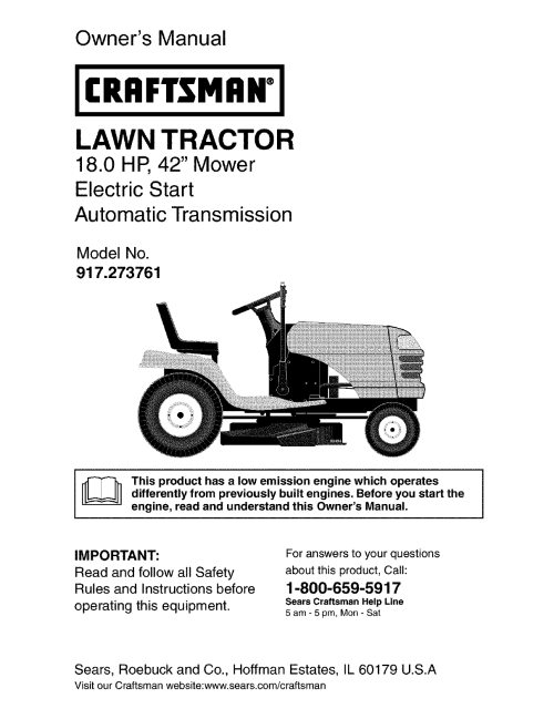small resolution of craftsman 917273761 user manual lawn tractor manuals and guides l0403297 wiring diagram craftsman garden tractor 917 273761