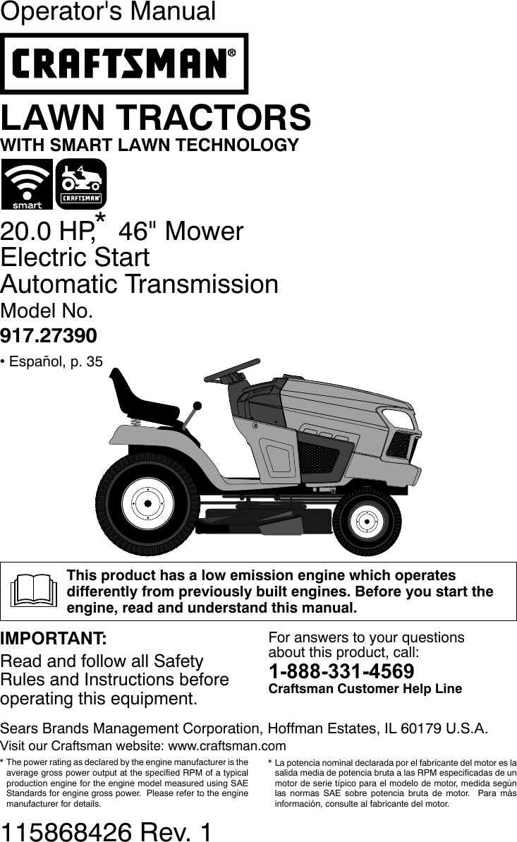 Craftsman 917273900 User Manual LAWN TRACTOR Manuals And
