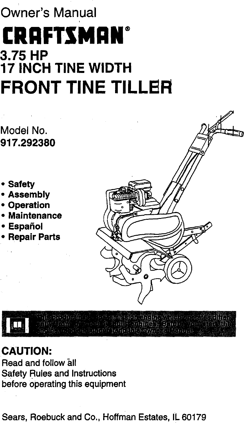 Craftsman 917292380 User Manual TILLER Manuals And Guides