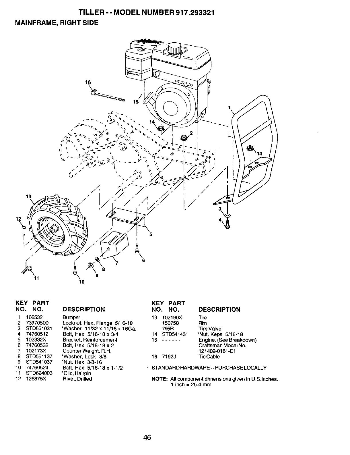 Craftsman 917293321 User Manual 6.5HP REAR TINE TILLER
