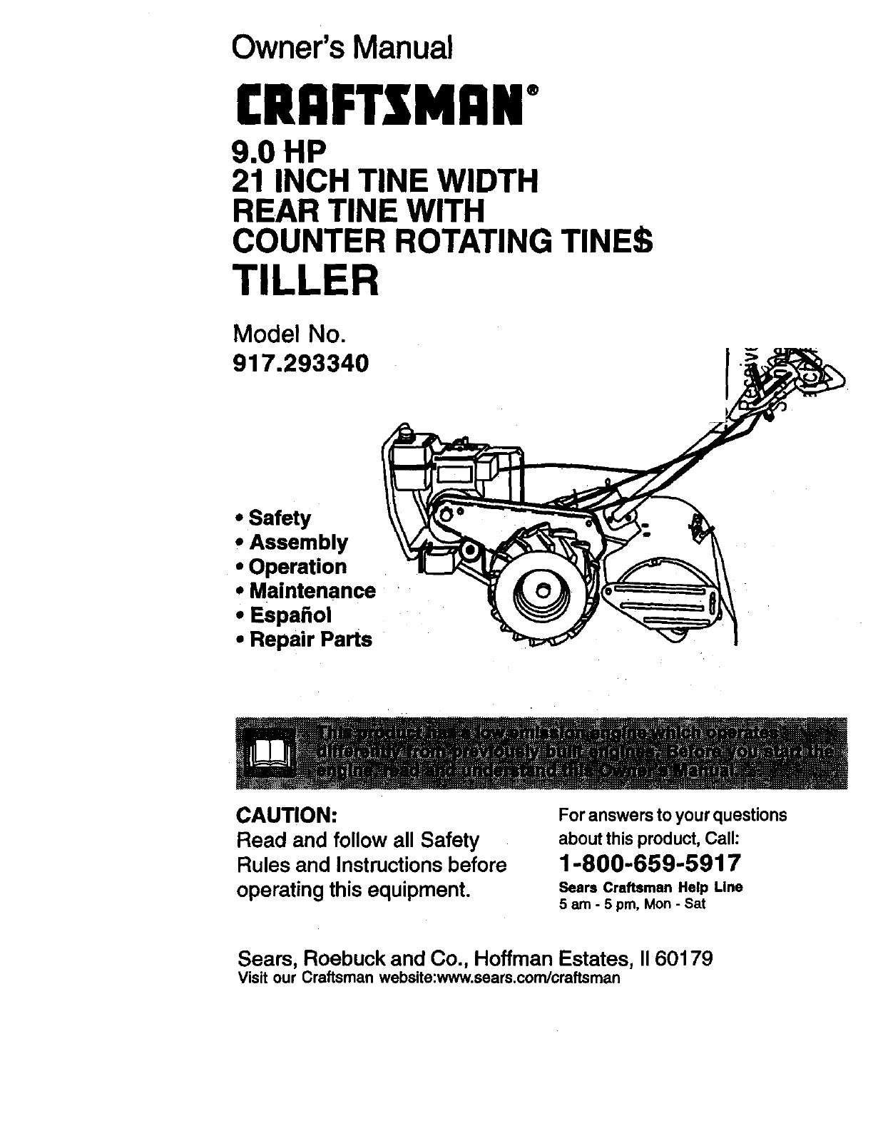 Craftsman 917293340 User Manual 9.0HP REAR TINE TILLER
