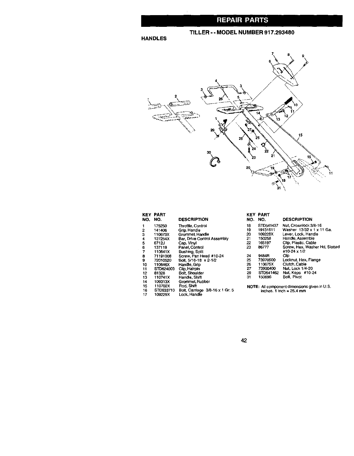 Craftsman 917293480 User Manual REAR TINE TILLER Manuals