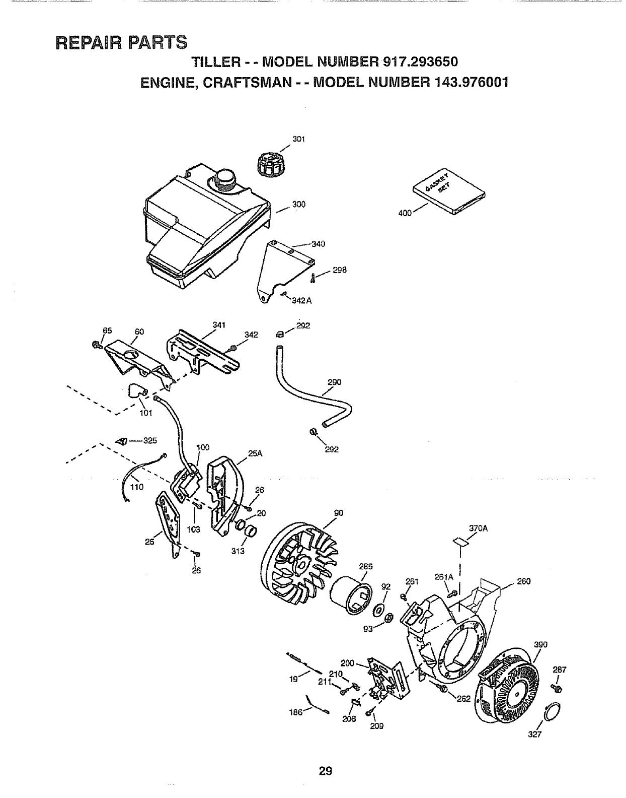 Craftsman 917293650 User Manual Rear Tine, Gas Tiller