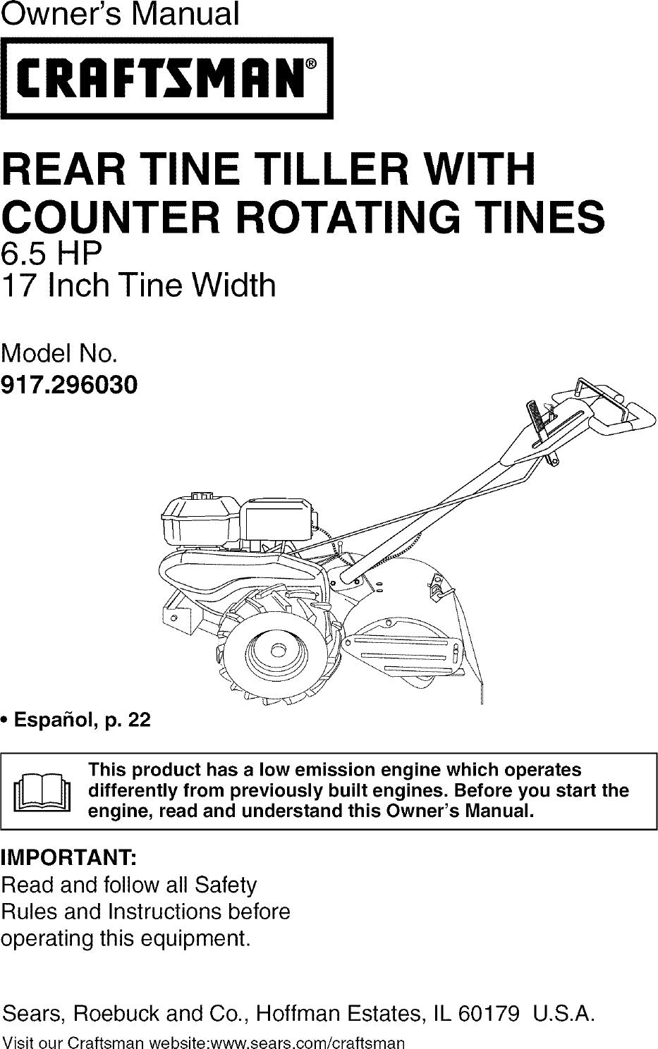 Craftsman Rear Tine Tiller Parts Diagram : craftsman, tiller, parts, diagram, Craftsman, 917296030, Manual, TILLER, Manuals, Guides, L0601149