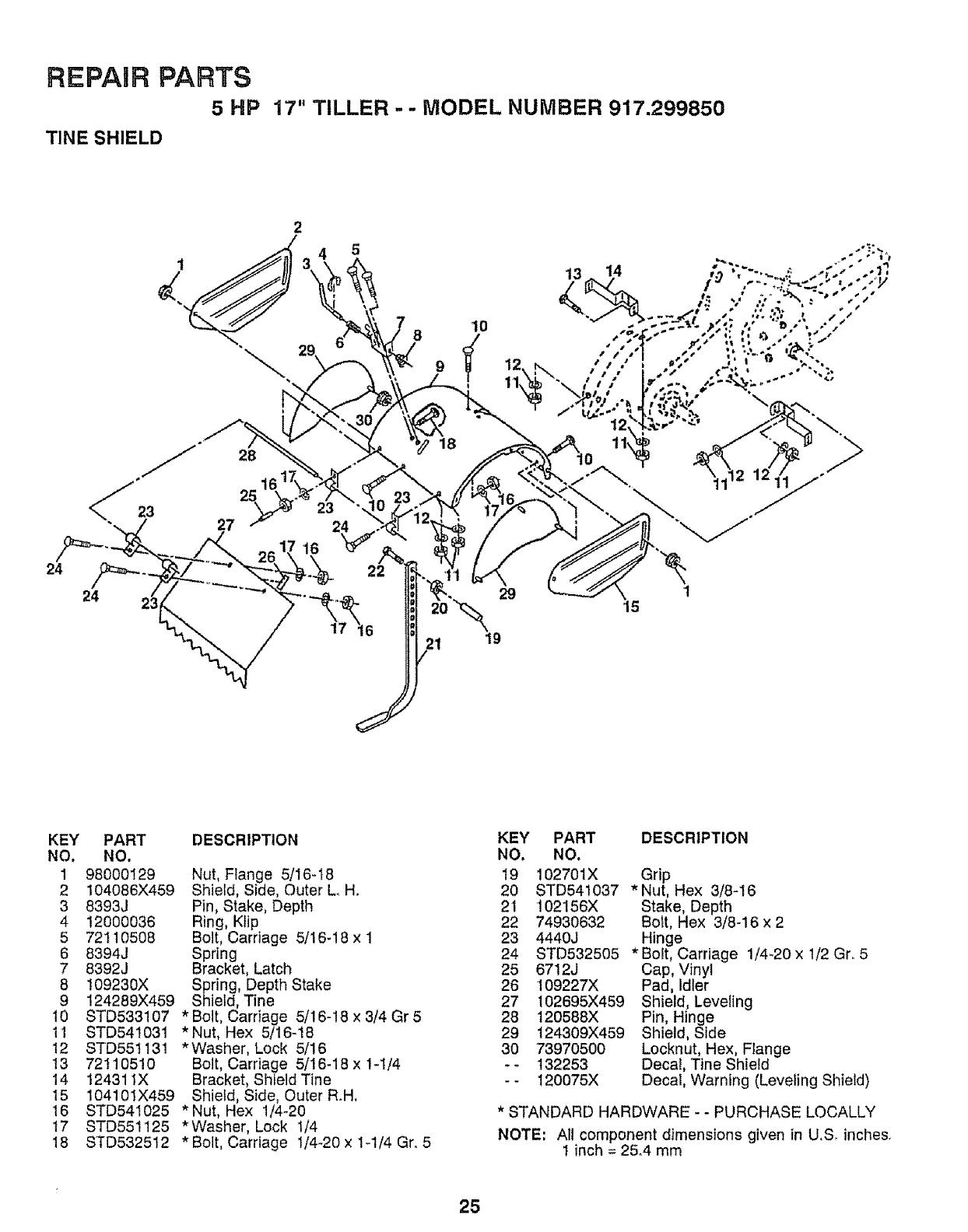 Craftsman 917299850 User Manual Rear Tine, Gas Tiller