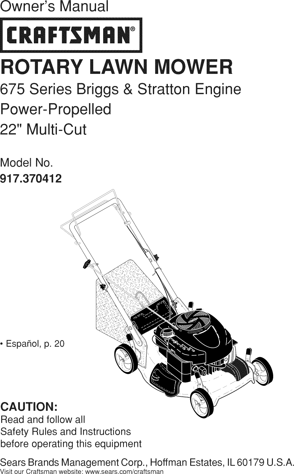 Craftsman 917370412 1211101L User Manual MOWER Manuals And
