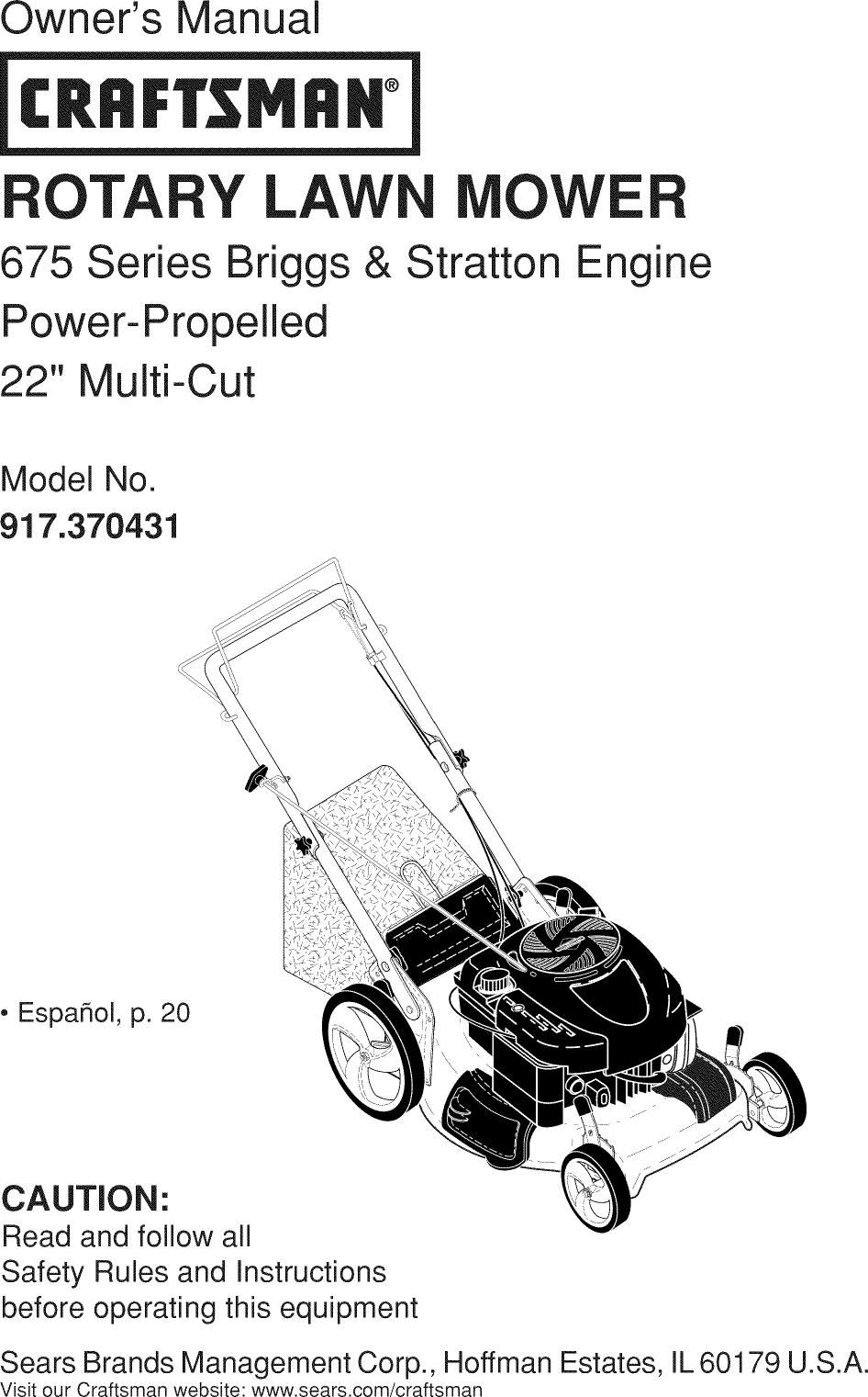 Craftsman 917370431 1211100L User Manual MOWER Manuals And